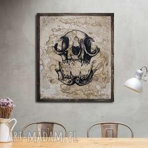 kocia czaszka - obraz ręcznie malowany