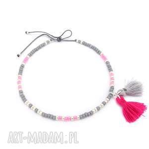 hand-made bransoletki bransoletka na kostkę - powder pink