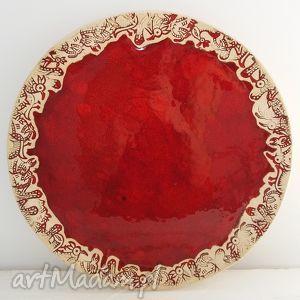 czerwona patera ceramiczna, talerz, ceramiczny, dekoracyjna, patera, ceramiczna