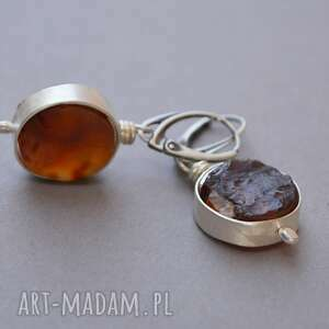 srebrne kolczyki z surowego agatu karneolowego, agat moneta, surowy, srebro