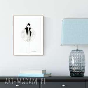 grafika A4 malowana ręcznie, minimalizm, abstrakcja czarno-biała, ilustracja, obraz