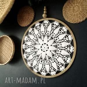 dekoracje łapacz snów 30 cm, łapacz, koronka, korale, koło, boho