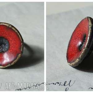pierścionek ceramiczny mak, ceramika, pierścionek