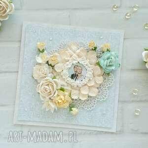 kartka na ślub miętowo-brzoskwiniowa made by kate