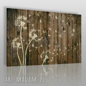 obraz na płótnie - dmuchawce drewno - 120x80 cm 28501 - dmuchawce, drewno, deski