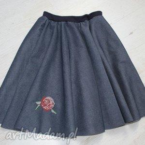 Spódnica kloszowa z haftem , róża, spódnica,