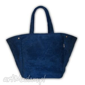 torba boat - 2w1 na ramię granat, duża, 2w1, modna, miejska, alcantara