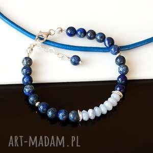 bransoletki lapis lazuli z chalcedonem - bransoletka, lapis, lazuli, chalcedon