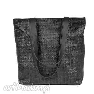 ręcznie wykonane torebki czarna wytłaczana skórzana torba