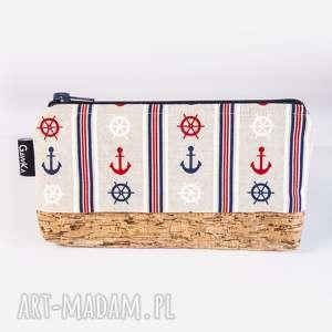 żeglarska z korkiem, kosmetyczka, saszetka, korek, żeglarstwo, kotwica