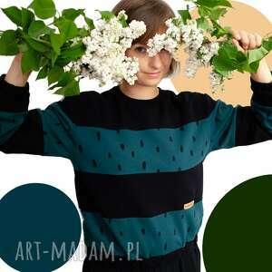 bluzy bluza kropelkowa szósteczka, zielona, czarna bluza, nadruk, ściągacz