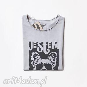 ręczne wykonanie koszulki york maczo szara koszulka z psem