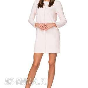 elegancka sukienka z zakładką, t209, jasnobeżowy, sukienka, elegancka, zakładka