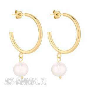 złote półkola xl z naturalnymi perłami, eleganckie