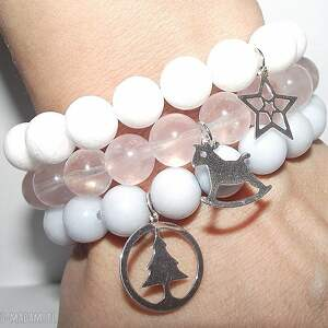 świąteczna pastelowa seria, srebro, kamienie, choinka, gwiazdka, konik, mikołaj