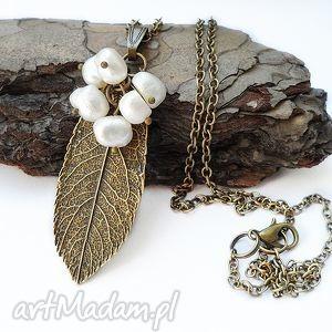 Liść perłowy - naszyjnik naszyjniki viviart liść, perła