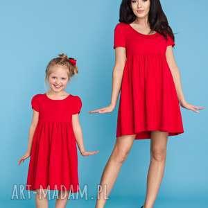 komplet dla mamy i córki, sukienka letnia odcinana pod biustem, czerwona