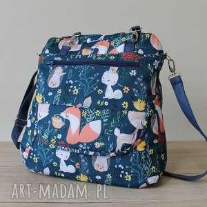 plecak torba listonoszka - leśne zwierzaki, pakowna, elegancka, plecak, jesień