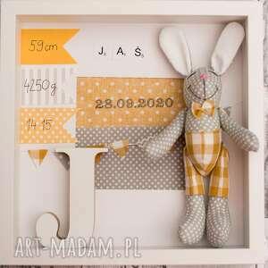 Metryczka prezent królik chrzest dla dziecka artshoplalashop