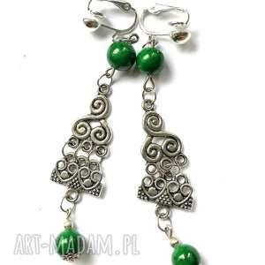 Ruda Klara: klipsy etno boho lekkie zielone handmade