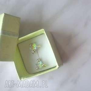kolczyki swarovski wkrętki cube crystal ab 6mm, swarovski, kostka, srebro