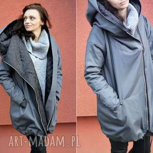 Szary płaszcz oversize ogromny kaptur na jesień rozmiar