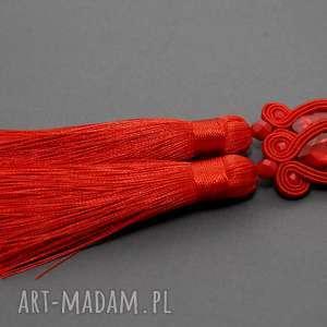 sisu czerwone kolczyki sutasz, sznurek, eleganckie, wiszące, wieczorowe, długie