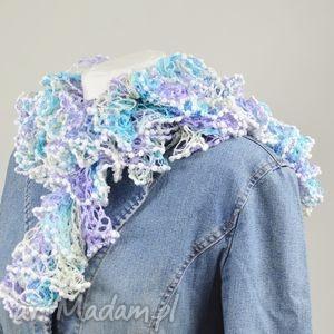 fantazyjny szal - błękitny - błękitny, zimowy, jesienny, wiosenny, dodatek