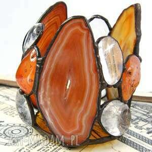 Świecznik brązowy z agatami świeczniki witrazka