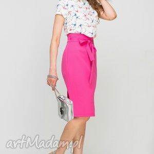 Ołówkowa spódnica z szarfą, SP115 fuksja, różowa, casual, pasek, kokardka,