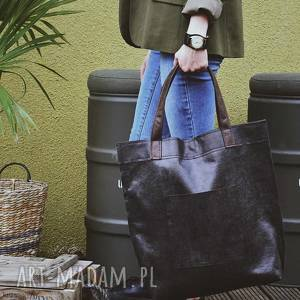 hand made na ramię torba mr m vintage czarna skóra naturalna
