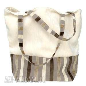 38-0002 Kremowa torebka na eko zakupy shopper bag SISKIN, torebki-materiałowe