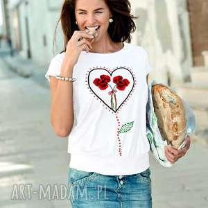 Bluzka z bawełny, ręcznie malowana, bluzka, koszulka, maki, kwiaty,