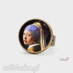 pierścionek dziewczyna z perłą, dama, perła, kobieta, reprodukcja, malarstwo, obraz