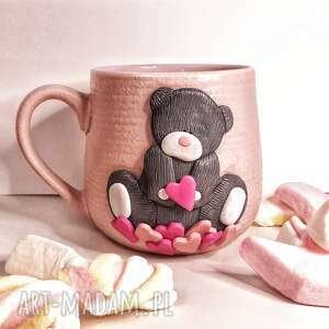 ceramika kubek różowy miś, kubek, kawa herbata, prezent podarunek, miś