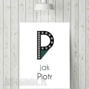 Prezent ŚWIECĄCA litera P z imieniem prezent lampka obraz, dekoracja, dziecko,
