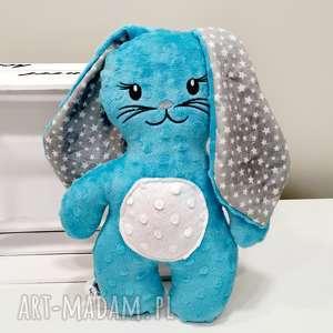 niebieski królik, maskotka dla dziecka, zając z minky, miękka przytulanka