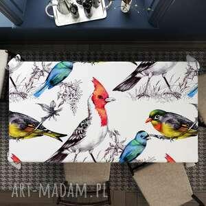 obrus welurowy ptaki, obrus, dekoracja stołu, welurowy, nakrycie stołu