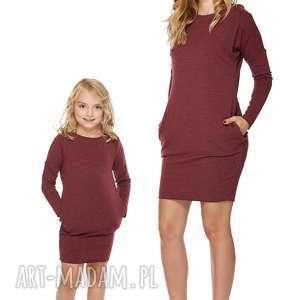 mama i córka sukienka dla córki ld2 3 - sukienka, dresowa, kieszenie
