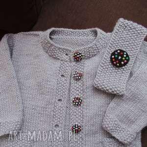 długi sweterek szaraczek z opaską, rękodzieło, sweterek, włóczka, cieplutki