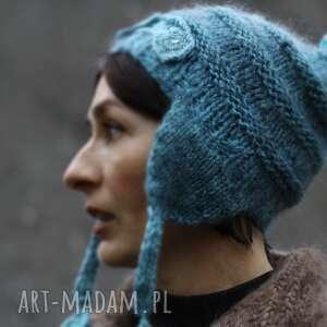 Niebieska czapka z pomponem czapki kozaczka czapka, pompon