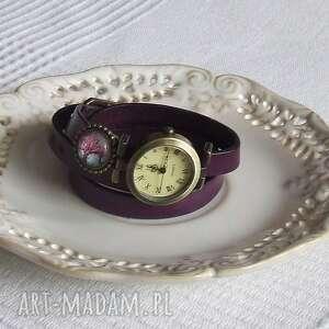 zegarek vintage z grafiką skórzany fioletowy, biżuteria, zegarek, bransoletka