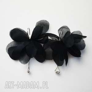 świąteczny prezent, kolczyki jedwab i srebro925, jedwab, czarny