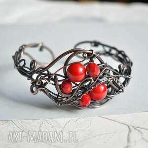 red queen - bransoletka w czerwieni, miedziana, czerwona