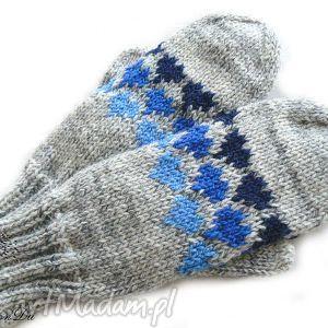 Melanżowe rękawiczki, jednopalczaste, serca, walentynki, melanż