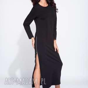 Bawełniana sukienka maxi z rozporkami na zamek, maxi, do-kostek, dluga, wygodna