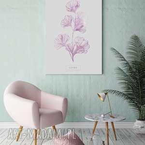 plakat b2 ginko różowy, ginko, salon, wystrój, wnętrza, sypialnia plakaty