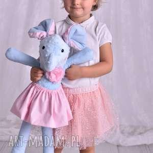 maskotki przytulanka dziecięca słoń w spódniczce, poduszka słoń, minky