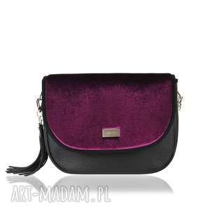 hand-made na ramię torebka puro view skórzana 1321 velvet violet