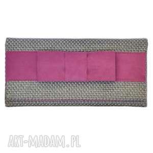 03-0013 Szara torebka kopertówka wieczorowa do ręki CROW, torebki-kopertówki